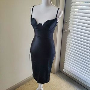 Black Faux Leather Bustier Midi Dress NWT